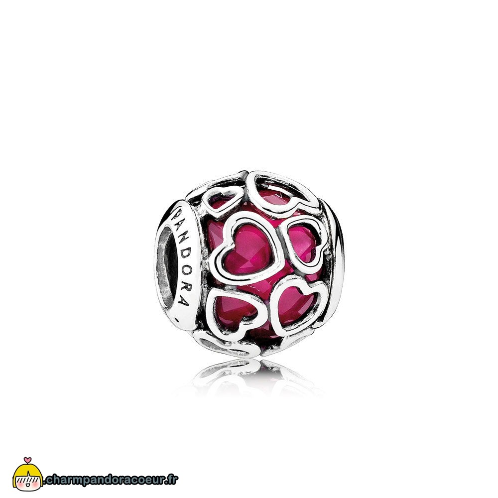 Nouvelle Collection Pandora Pandora Symboles De Amour Charms Cerise Encased Dans Amour Charme Cerise Crystal