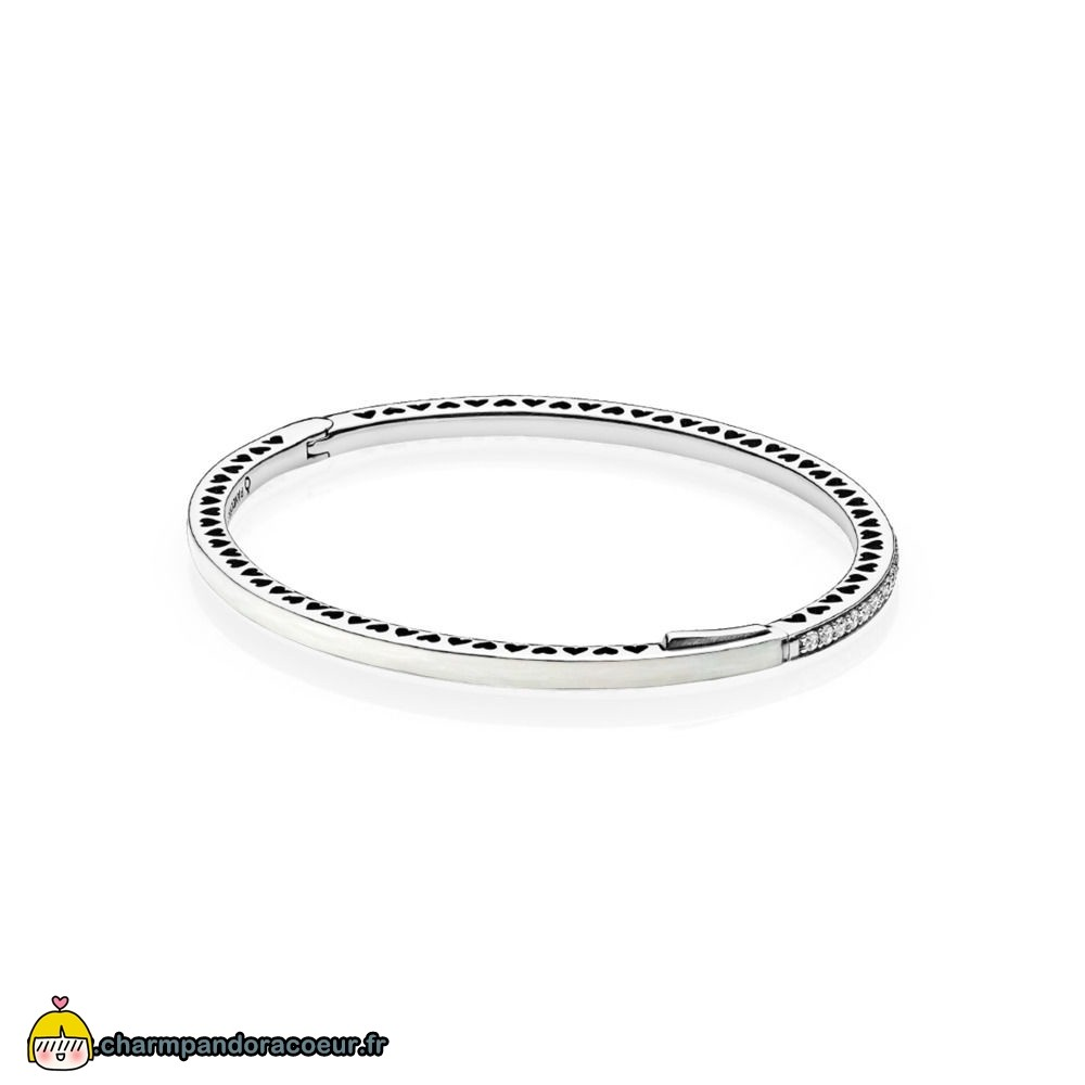 Nouvelle Collection Pandora Bangle Radiant Coeurs De Email Clear Cz Prix