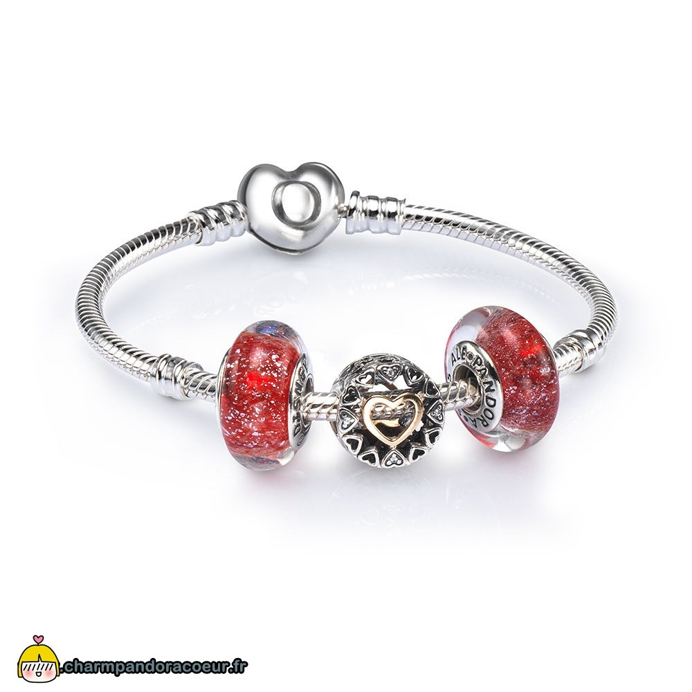 Nouvelle Collection Pandora Aimant Cercle Ouvrir Charm Bracelet Ensemble