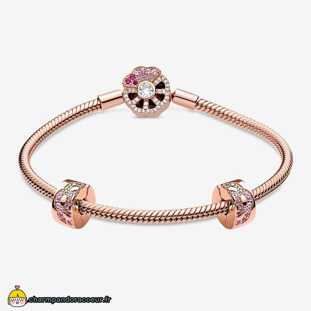 Nouvelle Collection Pandora Ensemble De Bracelets À Fermoir Éventail Rose