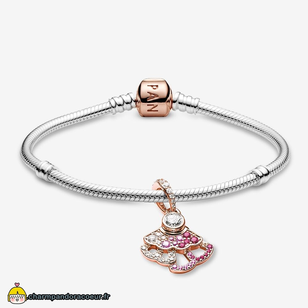 Nouvelle Collection Pandora Éventail Rose Bracelets Ensemble