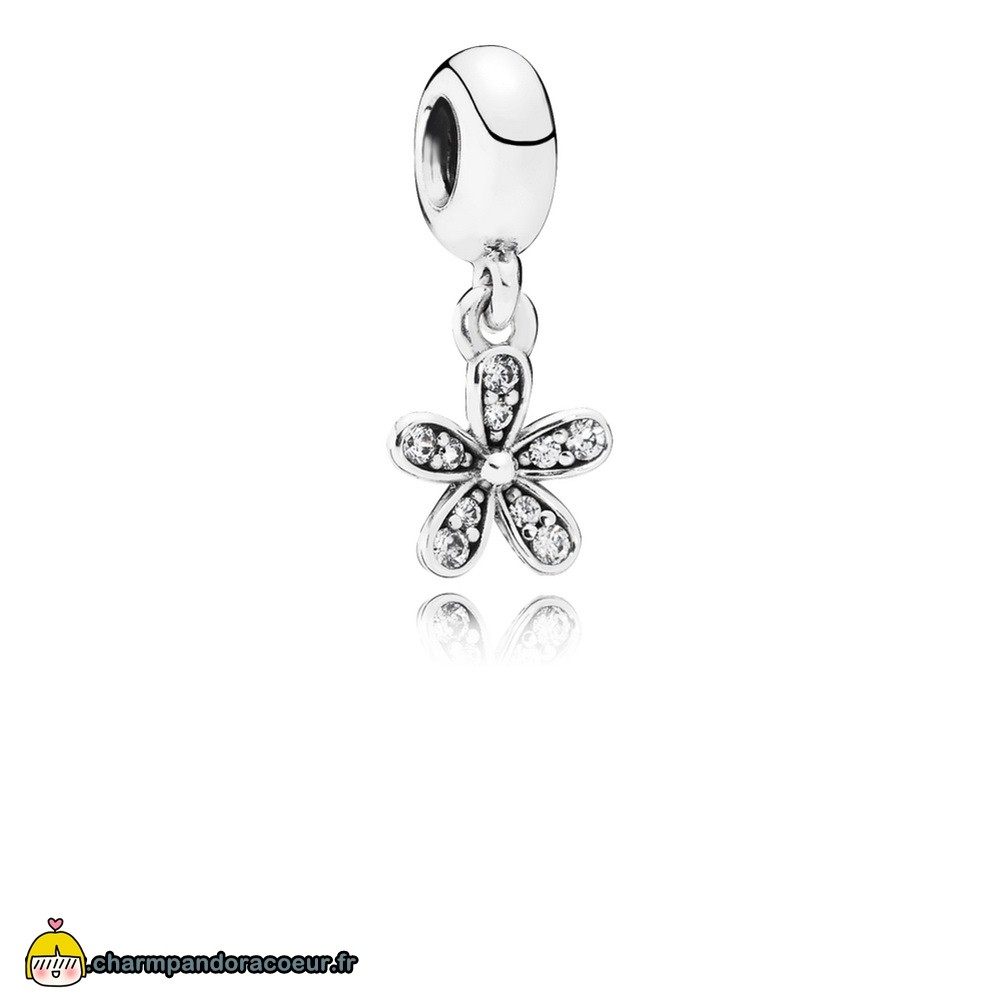 Nouvelle Collection Pandora Pandora Dangle Breloques Dazzling Daisy Dangle Charm Clear Cz