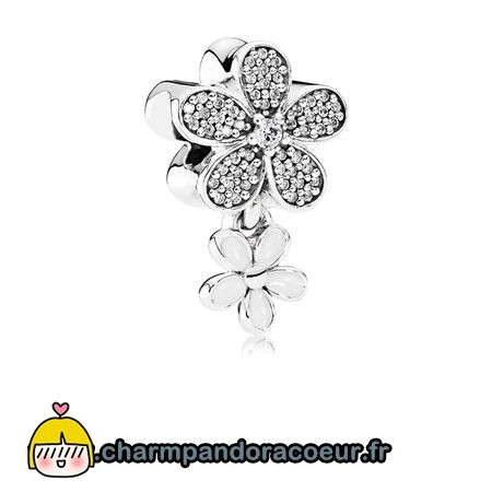 Nouvelle Collection Pandora Pandora Dangle Breloques Dazzling Daisy Duo Blanc Email Clear Cz