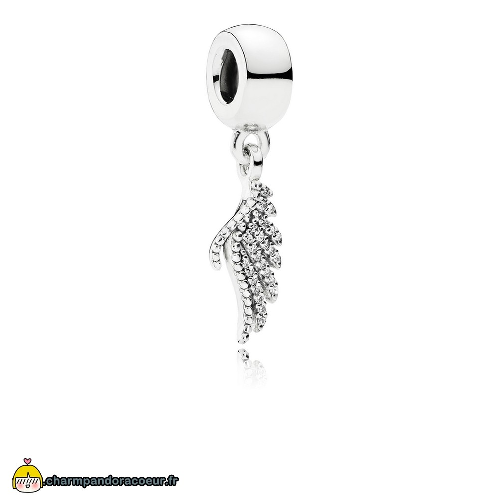 Nouvelle Collection Pandora Pandora Passions Charms Chic Glamour Majestueux Feather Dangle Charm Clear Cz