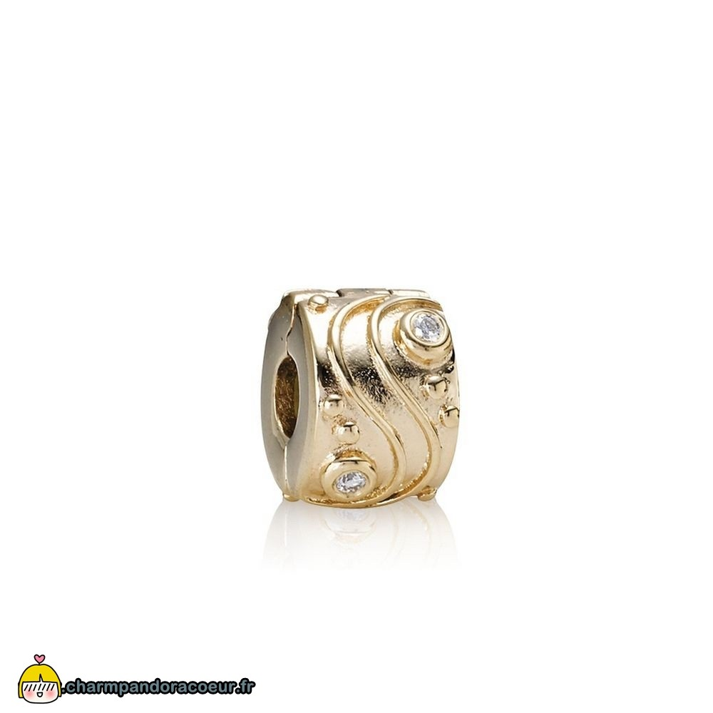 Nouvelle Collection Pandora Pandora Clips Breloques Babbling Brook Abstract Gold Clip Diamants
