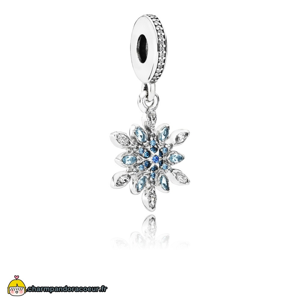 Nouvelle Collection Pandora Pandora Nature Charms Crystalized Snowflake Dangle Charm Blue Crystals Clear Cz
