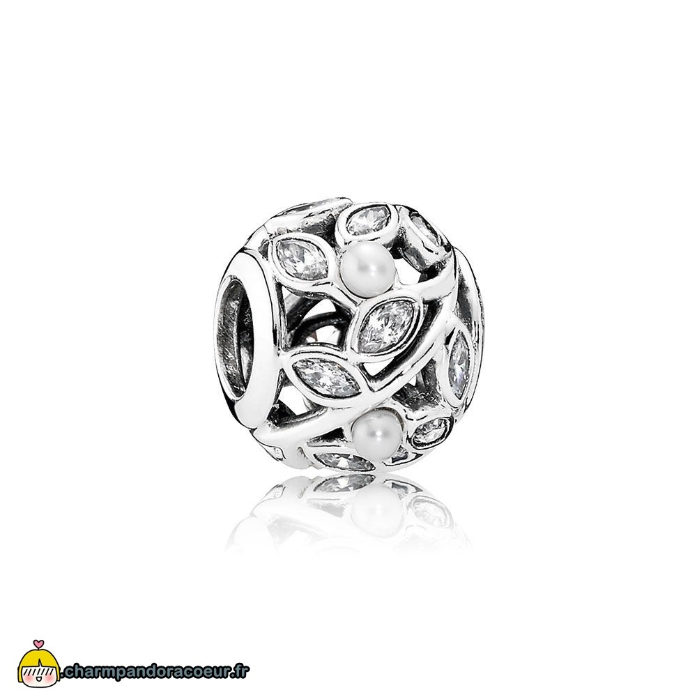 Nouvelle Collection Pandora Pandora Nature Charms Feuilles Lumineuses Blanc Pearl Clear Cz