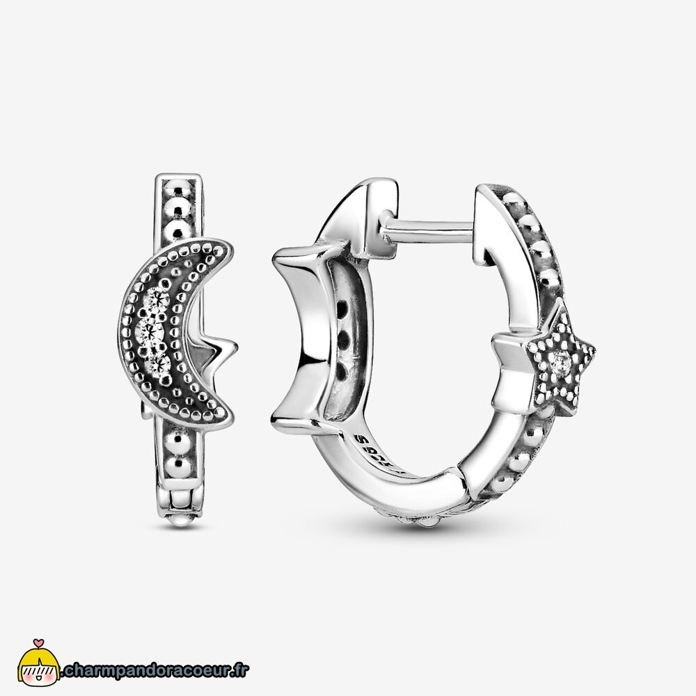 Nouvelle Collection Pandora Crescent Moon & Stars Beaded Hoop Boucles D'Oreilles
