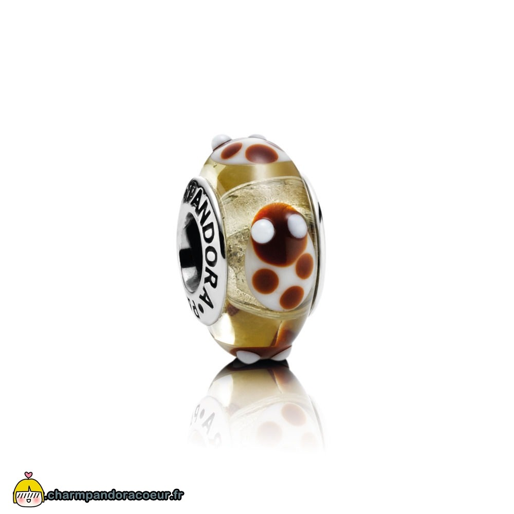Nouvelle Collection Pandora Golden Glass Ladybird Charm
